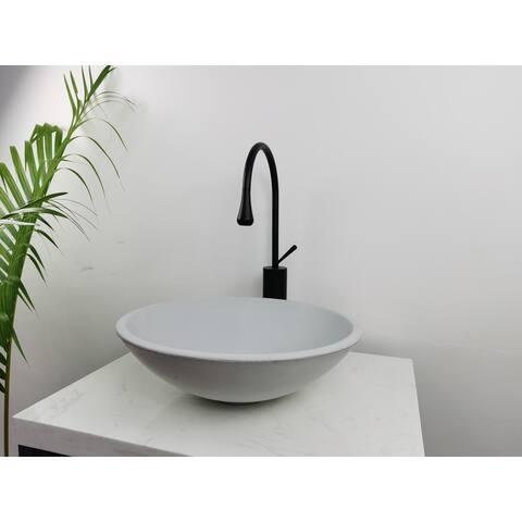 Kante Modern Circle Cement Bathroom Counter Sink, 16.3 Inch Diameter, Natural Concrete Finish