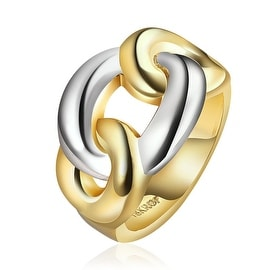 Gold Plated Modern Chain Twist Ring