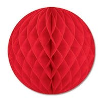 """Pack of 12 Red Honeycomb Hanging Tissue Ball Decorations 19"""""""