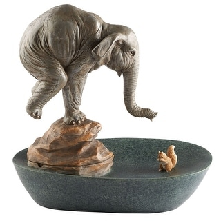Art & Artifact Elephant and Squirrel Tabletop Water Fountain - Gray - 12.5 in. x 12 in. x 8 in.