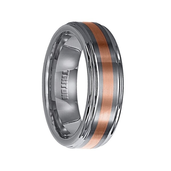 ERNEST Raised Brushed Center Tungsten Wedding Band with Polished Round Edges & 18k Rose Gold Inlay by Triton Rings - 7 mm