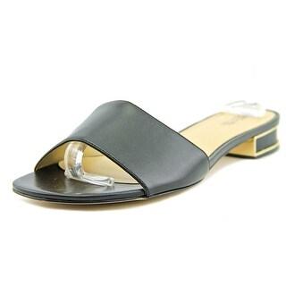 Michael Michael Kors Joy Flat Sandal Women  Open Toe Leather Black Sandals