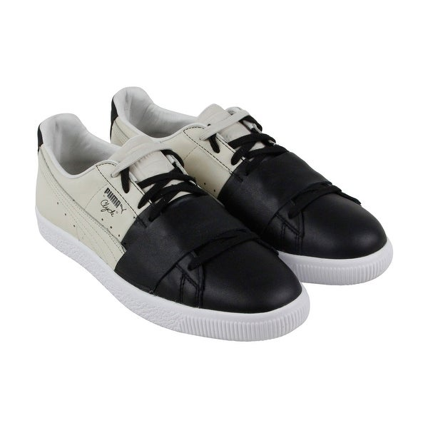 sale retailer 22078 57e0c Puma Clyde Colorblock 1 Mens Black Beige Leather Lace Up Sneakers Shoes