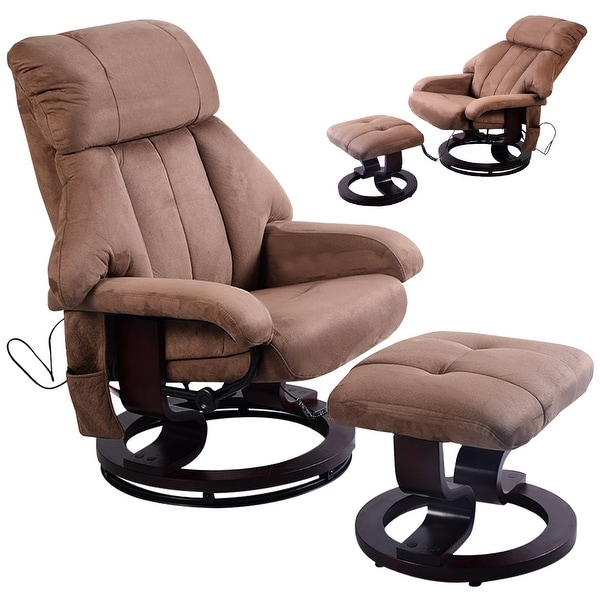Costway Brown Leisure Recliner Chair Ottoman With 8 Motor Massage Heated  Swivel
