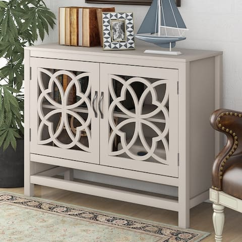 """39.4"""" Wide Solid Wood 2 Doors Accent Buffet Sideboard Storage Cabinet"""