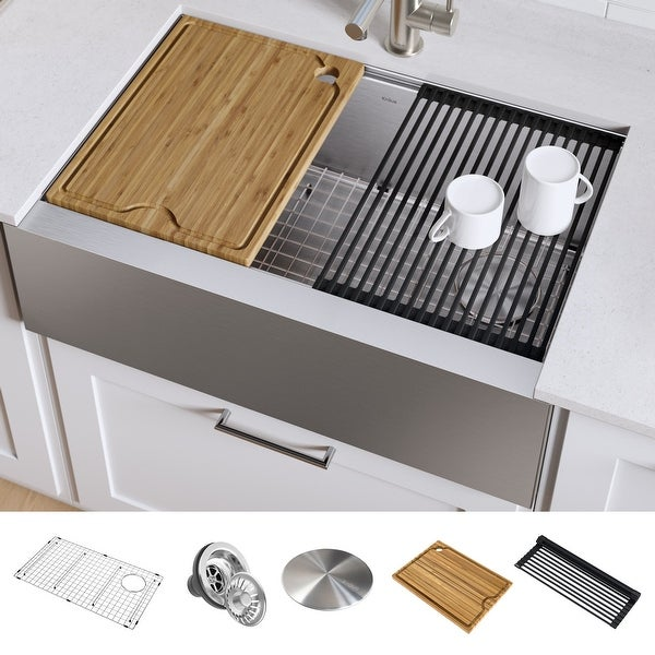 KRAUS Kore Stainless Steel Farmhouse Kitchen Sink with Accessories. Opens flyout.