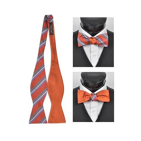 Men's Orange 100% Silk Woven Freestyle and Reversible Bow Tie FRBS1050 - Regular