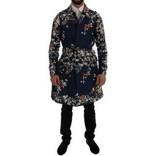 Dolce & Gabbana Blue Bird Cotton Trench Coat