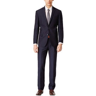 DKNY Extra Slim Fit Navy Blue Wool and Linen Suit 42 Short 42S Pants 35W