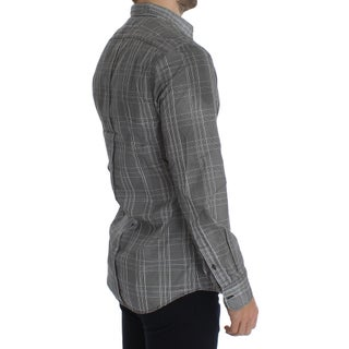 Dolce & Gabbana Gray Checkered GOLD Slim Fit Casual Shirt