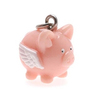 Hand Painted 3-D Flying Pig Charm Lightweight 17mm (1)