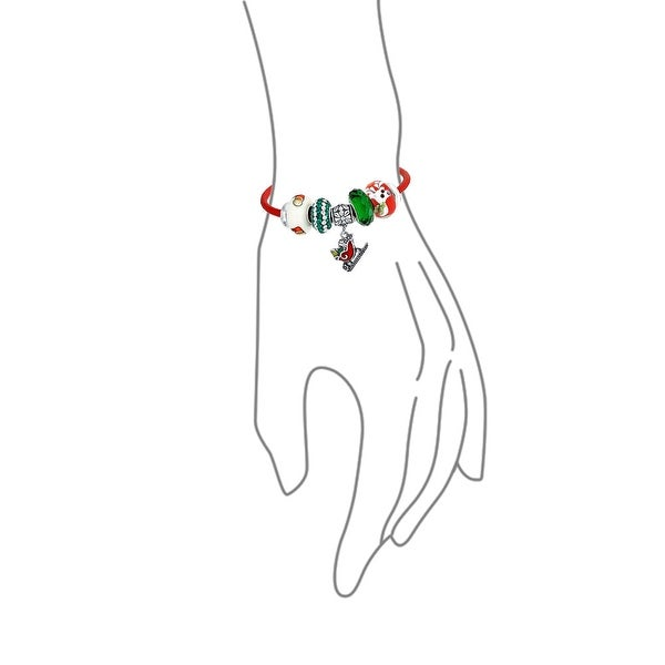Sterling Silver Polished Green Red Crystal Christmas Tree Bead Charm