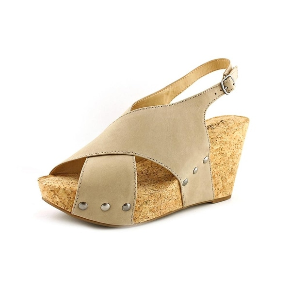 Lucky Brand Minari Women Open Toe Leather Nude Wedge Sandal