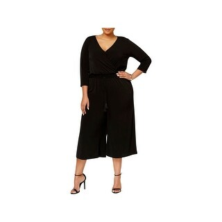 NY Collection Womens Plus Jumpsuit Crossover Keyhole