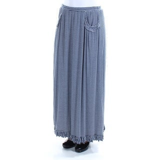 MAX STUDIO $78 Womens New 1110 Navy Striped Ruffled Maxi Pencil Skirt XS B+B