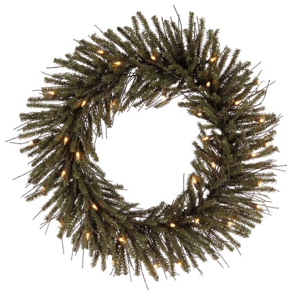 """24"""" Pre-Lit Vienna Twig Artificial Christmas Wreath - Clear Lights - brown"""