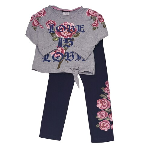"Girls Grey Rose ""Love Is Love"" Print Knot Accent 2 Pc Pant Outfit"
