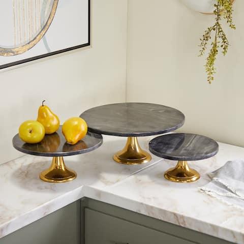 Black Aluminum Natural Cake Stand (Set of 3) - 15 x 14 x 6 Round