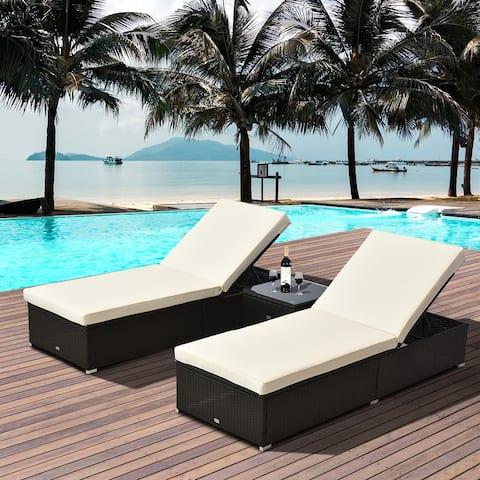 Outsunny 3-Piece Rattan Wicker Patio Chaise Lounge Set with 5 Backrest Angles, Thick Cushions, & Matching Table