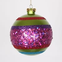 "4ct Lime Green and Cerise Pink Shatterproof Christmas Glitter Ball Ornaments 4"" (100mm)"