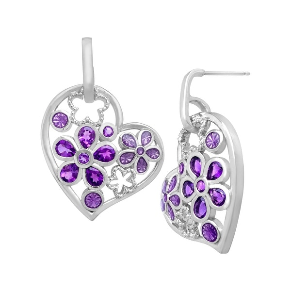 1 5/8 ct Amethyst Heart Drop Earrings in Sterling Silver - Purple