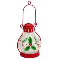 Pack of 3 Battery Operated LED Lighted White, Red and Green Holly Berry Lanterns with Timer 12""