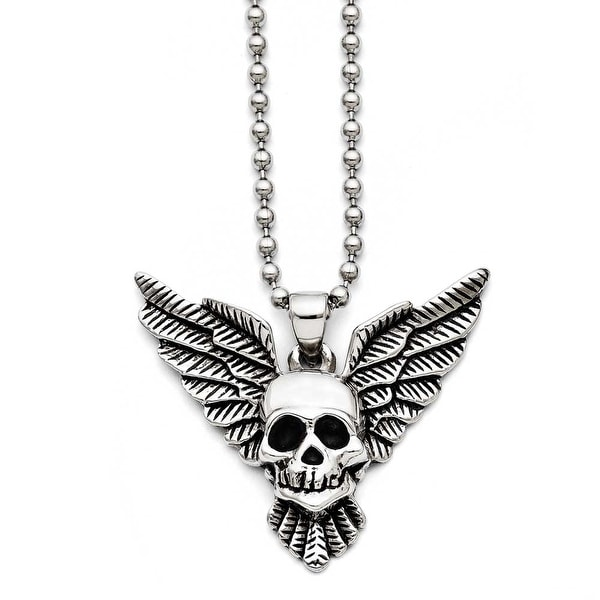Chisel Stainless Steel Antiqued Skull with Wings Polished Necklace (3 mm) - 22 in