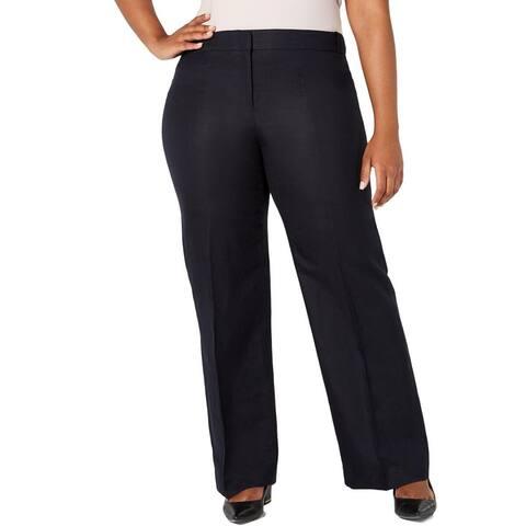 "Calvin Klein Women's Highline Linen Tapered Ankle Pants Navy Size 12"" - 12"