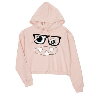 Monster With Glasses Womens Pink Crop Hoodie