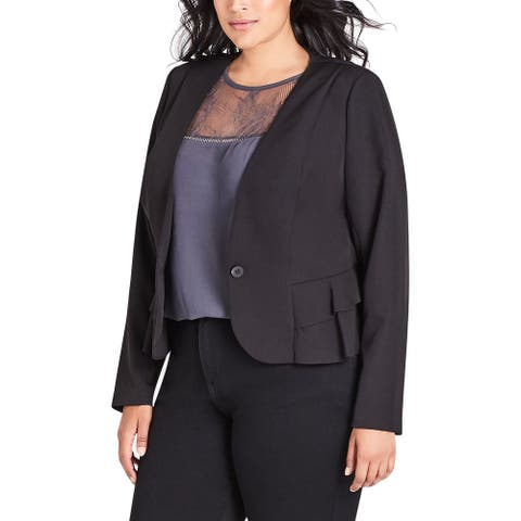 City Chic Women's bLAZER Black Size Medium M Plus Single Button
