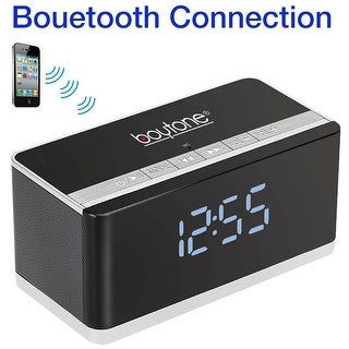 Boytone BT-86C Bluetooth 4.1 Portable Alarm Clock Radio Wireless Speaker, Digital FM Tuning Built Rechargeable Battery, Mic,