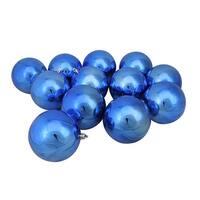"12ct Lavish Blue Shatterproof Shiny Christmas Ball Ornaments 4"" (100mm)"