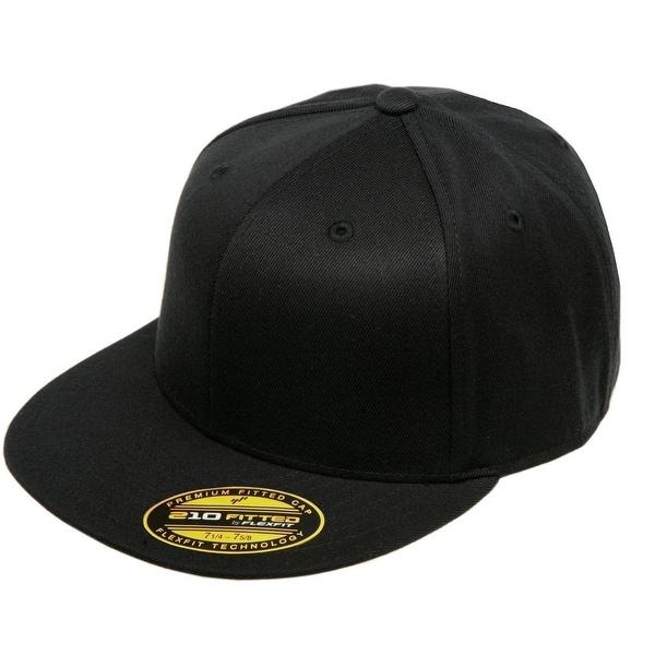 8d7035b097324 Shop Original Blank Flexfit Flatbill Premium Fitted 210 Hat Cap Flex Fit  Flat Bill Large Xlarge - Black - L XL - Free Shipping On Orders Over  45 ...