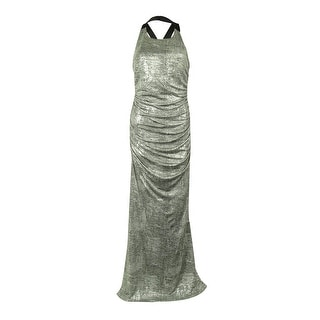 Calvin Klein Women's Metallic Ruched Halter Gown (14, Tin) - 14