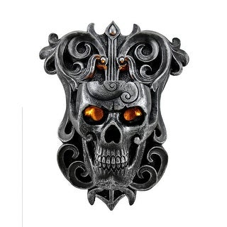 Flame of Eternity Gothic Graphite Skull Wall Mounted Candle Sconce