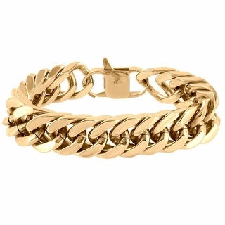 """Custom Miami Cuban Link Bracelet 18mm Thick Rose Gold Over Stainless Steel 9.0"""""""