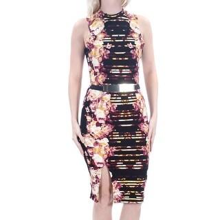 Womens Black Burgundy Floral Sleeveless Below The Knee Sheath Dress Size: S