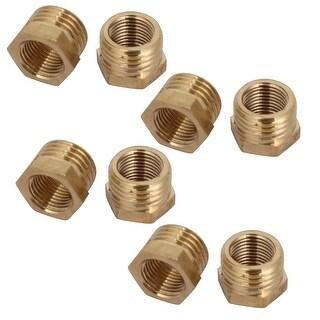 Unique Bargains1/4BSP Male x 1/8BSP Female Thread Brass Hex Bushing Pipe Fitting 8pcs