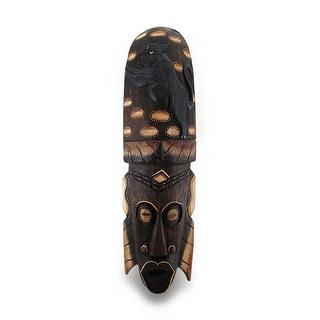 Hand Carved Wood Tan and Brown Tribal Mask w/Panther Headdress 20 in.