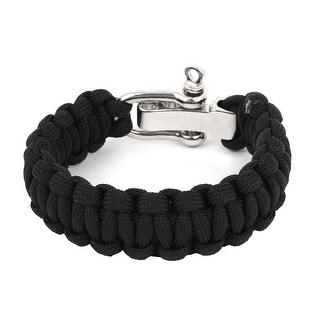 Unique Bargains Metallic Quick Release D-Ring Weave Nylon Parachute Cord Survival Bracelet Black