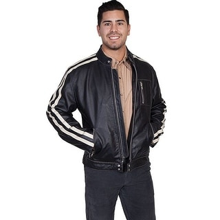 Scully Western Jacket Mens Leather Zip Motorcycle Stripe Onyx 992-92