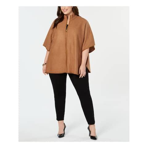 ANNE KLEIN Womens Brown Zip Front Cape Jacket Plus Size: 0X
