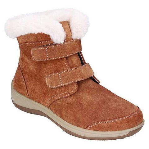 Orthofeet Women's Florence Faux Fur Bootie Camel Suede