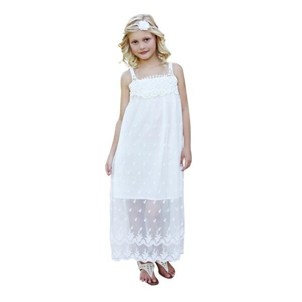 6ebbbe05d389d Think Pink Bows Little Girls Off-White Boho Chic Bianca Flower Girl Dress 6