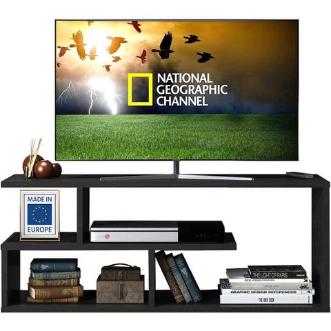 Casamudo Asymmetrical Minimalist TV Stand with 4 Open Shelves