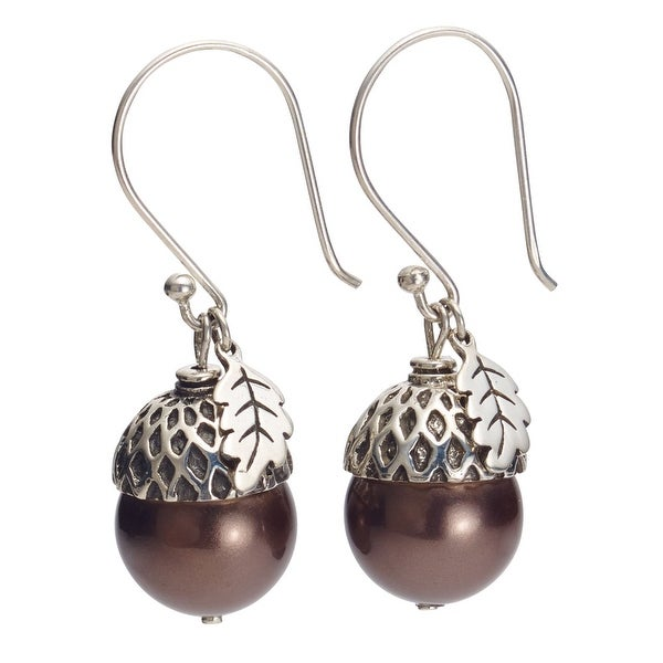 Women's Sterling Silver And Brown Pearl Acorn Dangle Earrings