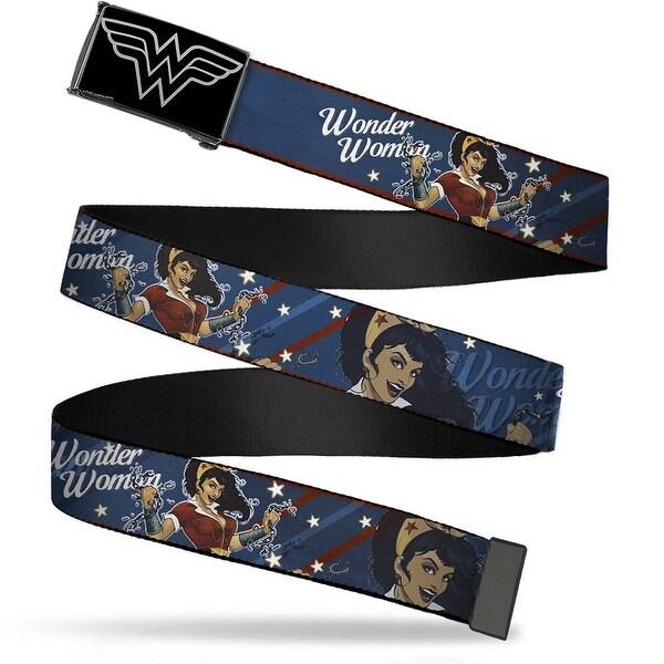 Wonder Woman Logo Reverse Brushed Silver Cam Wonder Woman Bombshell Web Belt