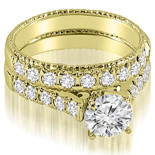 1.50 cttw. 14K Yellow Gold Vintage Cathedral Round Cut Diamond Bridal Set
