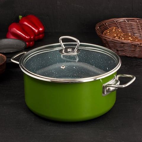 STP Goods 4.2 Qt Non-Stick Green Enamel on Steel Stock Pot w/Glass Lid