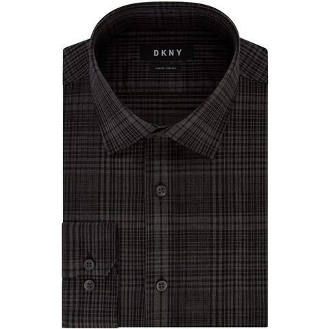 DKNY Men Dress Shirt Black Size XL 17 Slim Fit Stretch Check Button Down